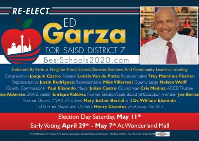 Ed Garza Re-Election Postcard