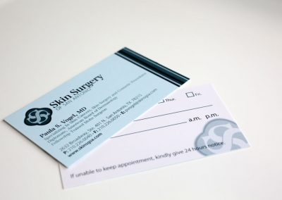 skin surgery matte business card and appointment