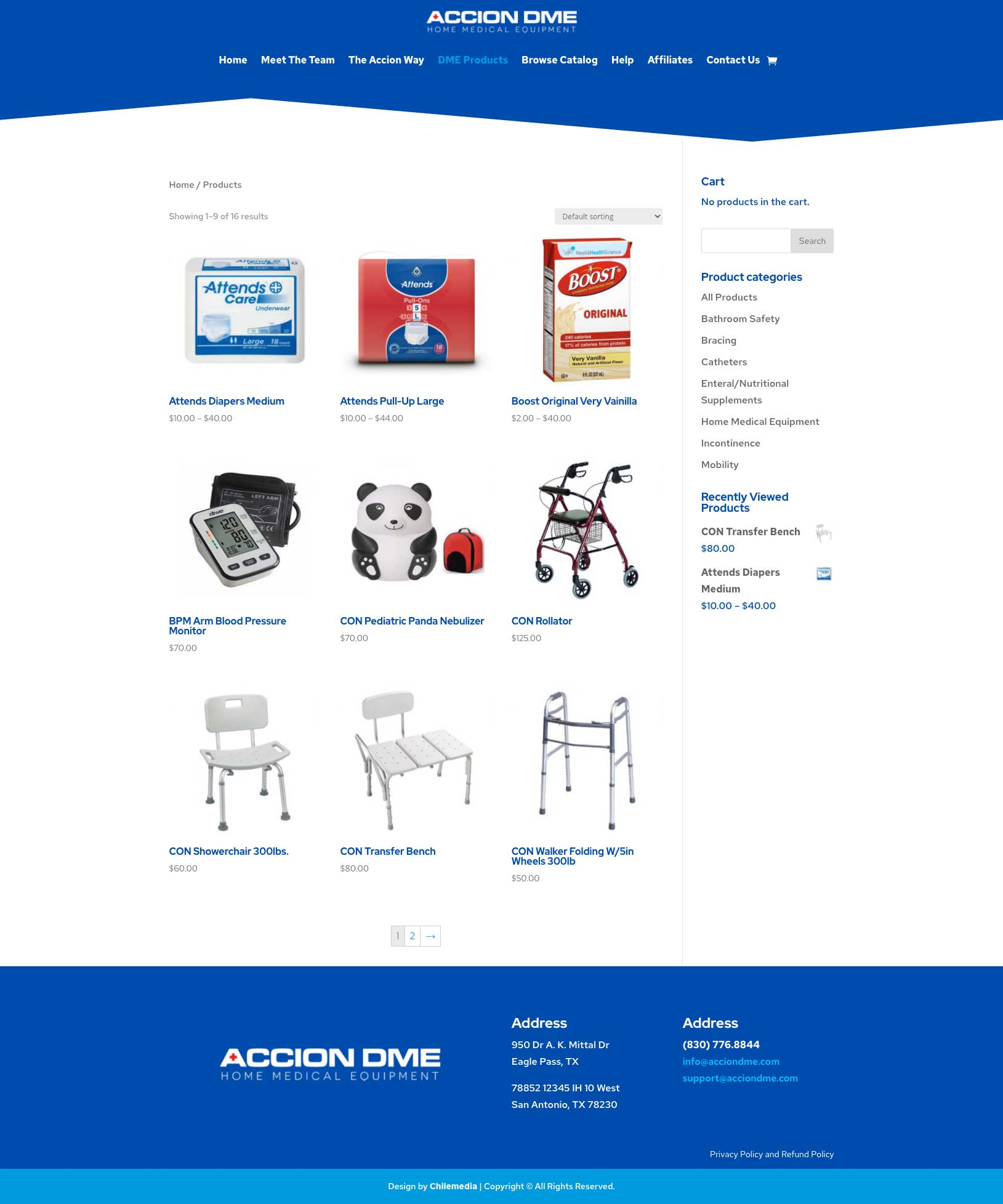 accion dme products webpage